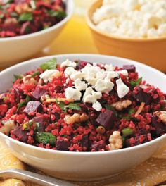 Mediterranean Quinoa with Red Beets Recipe. Get a head start on your week with this perfectly balanced, dietitian-created Mediterranean Quinoa with Red Beets recipe. Beet Recipes, Salad Recipes, Vegetarian Recipes, Healthy Recipes, Healthy Salads, Vegetable Recipes, Healthy Foods, Healthy Life, Cooking Recipes