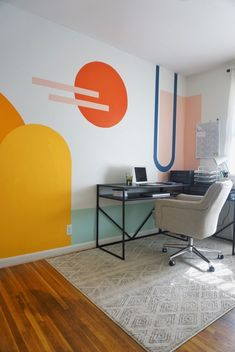 Turning my neutral office into a colorful, bright new space using paintl: my inspiration, the colors I used, before and afters, and process pictures. Office Mural, Office Walls, Office Wall Design, Bedroom Murals, Bedroom Decor, Wall Decor, Bedroom Sets, Decoration Inspiration, Office Interiors