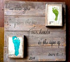 Footprint pallet artwork for mothers day  by ChickABroomBroom, $65.00