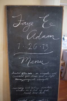 chalkboard menu Photography by Lori Paladino Photography / loriphoto.com, Event Design   Planning by Be Hitched / be-hitched.com/