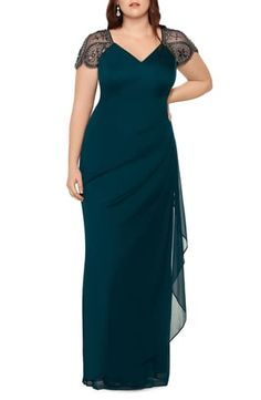 Evening Gowns With Sleeves, Plus Size Evening Gown, Costura Plus Size, Gowns For Plus Size Women, Cap Sleeve Gown, Cap Sleeves, Wedding Guest Gowns, Wedding Dresses, Haute Couture Gowns