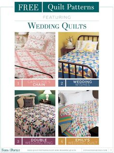 Get FREE wedding quilt patterns from Fons & Porter! Wedding quilts are so special…there's no other gift like a quilt made especially for the newlyweds. You don't have to be an advanced quilter to make a memorable, instant-heirloom wedding quilt!