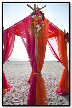 Tropical Pink & Orange Bamboo Canopy for Beach Wedding reception wedding flowers,  wedding decor, wedding flower centerpiece, wedding flower arrangement, add pic source on comment and we will update it. www.myfloweraffair.com can create this beautiful wedding flower look.