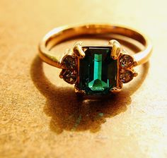 Really beautiful vintage emerald ring with a gold plated band. #littleadditions #gold #emerald