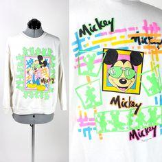 Vintage Retro NEON White Mickey Mouse Sweatshirt Womens Small
