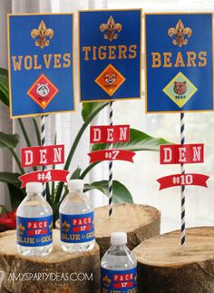 Cub Scout Blue & Gold Ceremony Party Ideas with Printables - as seen on AmysPartyIdeas.com  #cub scouts #blue & gold #party #ideas #scouts #bluegold