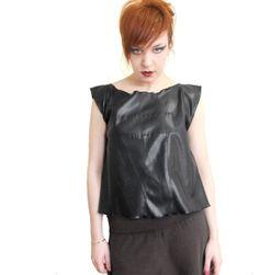 Black faux leather tank top