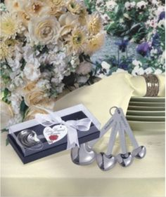 50 Silver Love Heart Measuring Spoons Wedding Shower Bridal Shower Party Favors