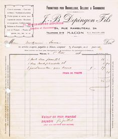 Free Printable French Graphic - Antique Invoice from KnickofTime.net