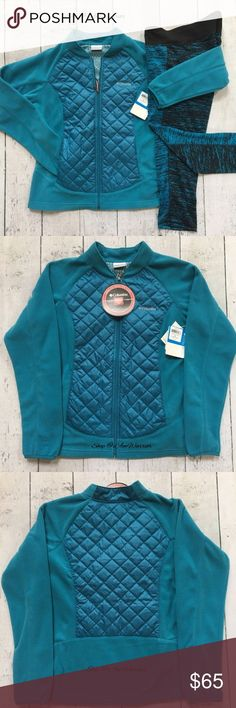 Columbia NWT light weight fleece zip jacket New Columbia thermal coil jacket in pretty turquoise blue w/ full zip closure & side pockets. The perfect little jacket for chilly days with no bulk!  Retails at $90. Fits S/M. Leggings not included or not sale. Please read my update bio regarding closet policies prior to any inquires. Columbia Jackets & Coats