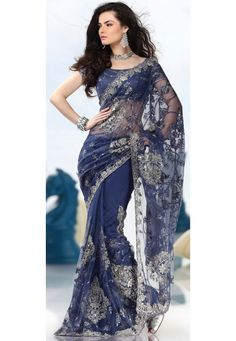 Buy Blue Net Saree with Blouse online, work: Embroidered, color: Blue, usage: Wedding, category: Sarees, fabric: Net, price: $320.15, item code: SSX3571A, gender: women, brand: Utsav