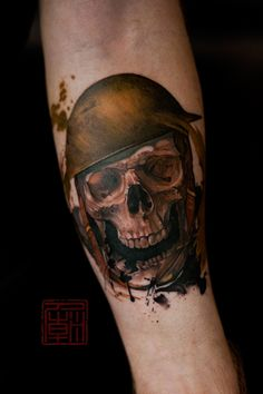 Skull In A Tin Hat - artwork and tattoo by Wang  www.tattootemple.hk