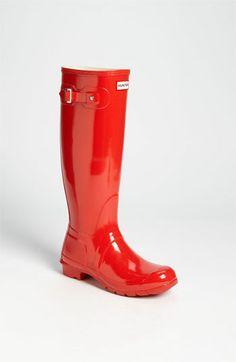 Hunter 'Original Tall' Gloss Rain Boot #onestepatatime #women #shoes #fashion #style #rainboots #red #tall #boots #hunter #nordstrom