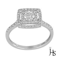 14K White Gold 0.60 CT Round Diamond Double Halo Engagement/Fashion Ring - JHS #WomensEngagementFashionRingJewelryHotspot