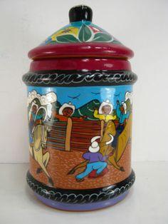 Unique Mexican Clay Jar  Bullfight
