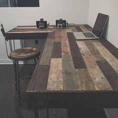 Rustic L-Shaped Desk Made from Reclaimed Wood door crtcreative