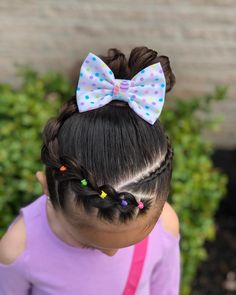 Dutch braid with elastic sections on the side into a messy bun 🎀🌸💜 Lace Braid, Braid Out, Little Girl Hairstyles, Toddler Hairstyles, School Hairstyles, Prom Hairstyles, Hairdos, Four Strand Braids, Competition Hair