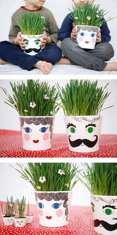 Making grass head pots is a fun seed experiment. Teach kids what seeds need to grow into big plants: soil, sun and water. | at Non Toy Gifts