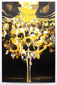 I Love Dust - Nike Livestrong - Lance Armstrong Poster. Nike commissioned us to create this poster which includes all of Lance's friends, family, fellow Nike athletes and supporters as part of the 'FIGHT LIKE HELL' campaign. Creative Illustration, Illustration Art, Dragons Online, Bicycle Art, Branding, Cycling Art, Typography Inspiration, Graphic Art, Graphic Design