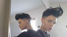 Basically my idol. Dreads, Ruby Rose Hair, Shaved Head, My Hairstyle, Orange Is The New Black, Short Bob Hairstyles, Pixie Cut, Woman Crush, Cut And Color