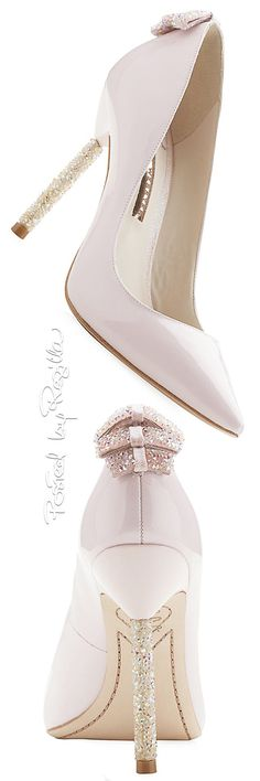 Sophia Webster ~ White Patent Leather Pumps w Crystal Heel Embellishments