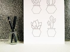 A4 Poster cactus A4 Print cactus Black and white by SweetAndMellow