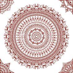 Mehndi Mandala with Corners Royalty Free Stock Vector Art Illustration