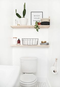 DIY bathroom shelves - Back with the last DIY project from our modern ., DIY bathroom shelves - Back with the last DIY project from our modern vintage bathroom. I wanted some egg - # bathroom shelves . Simple Bathroom, Diy Shelves Bathroom, Shelves, Diy Bathroom Decor, Small Half Baths, Modern Vintage Bathroom, Vintage Bathroom, Home Decor, Toilet Storage