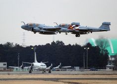 "AYASE, Japan (Feb. 14, 2012) - Two EA-6B Prowlers attached to the Gauntlets of Electronic Attack Squadron (VAQ) 136 take off from Naval Air Facility (NAF) Atsugi for the last time. The ""Gauntlets"" are flying a trans-Pacific flight of more than 4,200 nautical miles (6,700 km) to arrive at Whidbey Island, Wa. The aircraft are being replaced by the EA-18G Growler of squadron VAQ-141 ""Shadow Hawks,"" which will occur in early spring 2012. (US Navy photo Justin Smelley)"