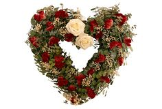 "16"" Eucalyptus Heart Wreath, Red on OneKingsLane.com"