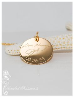 Loved one's actual handwriting - Signatures personalized on 14k Gold Filled circle pendant - charm only (no chain) Memorial jewelry