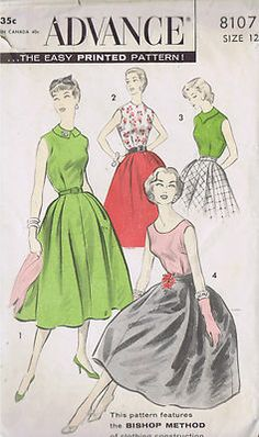 Vintage Skirt Blouse 1950s Sewing Pattern Advance 8107 Size 12 Bust 32 Hip 34 Cut | eBay