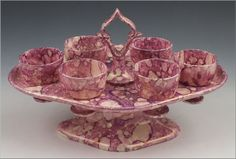 Early 19thC Sunderland Pink Luster Creamware Egg Caddy Stand w/ 6 Cups