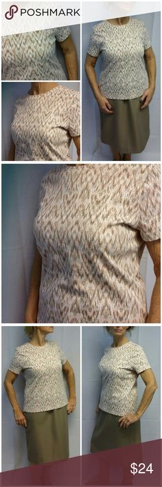 """Offers of 40% Less on BUNDLES Always Accepted! Shades of Peaches Cream N Light Brown abstract zigzag design on white background, size PL, round neckline,  short sleeves, soft thick wrinkle free material, machine washable, 100%cotton,  Petite Large, 24"""" length shoulder to hem, 21"""" bust laying flat, 7 1/2"""" sleeves, 15"""" shoulder width, NEW WITH TAG! ADD TO A BUNDLE!  Offers of 40% Less on BUNDLES Always Accepted! Studio Works Apparel Tops"""