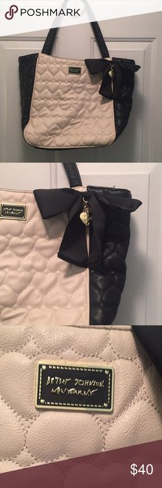 Betsy Johnson Two tone bag Soft leather two tone bag. It's soft leather so the picture shows a crease in the leather but it's just because there is nothing in the bag.  No pulls in fabric, no scuffs or scrapes on the leather. Betsey Johnson Bags Totes