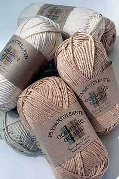 Plymouth Earth Oceanside Organic Cotton Yarn - Nonallergenic cotton - favourite fibre for clothing and toys made for infants and babies; organic cotton - no pesticides, chemicals or dyes involved. Crochet Yarn, Knitting Yarn, Crochet Stitches, Crochet Patterns, Knitting Patterns, Knitting Projects, Crochet Projects, Como Fazer Short, Grandma Crafts