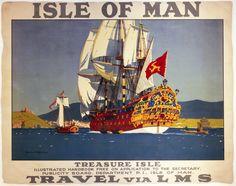 London Midland & Scottish Railway, Isle of Man, Treasure Isle by Norman Wilkinson, about 1935.