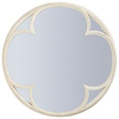 A round mirror featuring an inset quatrefoil, framed with painted wood and then deliberately distressed. The unusual four-leafed clover shape and aged frame would complement a country scheme, and would look especially good hung in a bathroom or bedroom. Small Mirrors, Round Mirrors, Mirror Painting, Painting On Wood, Decorative Accessories, Decorative Items, Parsons Green, Off White Paints, White Mirror