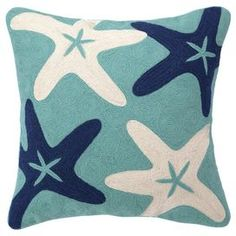"""Handmade cotton pillow with a plush down fill. Showcases a crewstitch starfish motif in blue, turquoise, and ivory.    Product: PillowConstruction Material: Cotton and down fillColor: Blue, turquoise and ivoryFeatures:  Handmade crewstitich Insert included Dimensions: 16"""" x 16""""Cleaning and Care: Spot clean"""