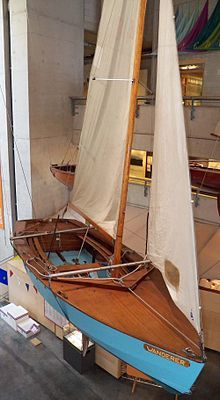 Wayfarer dinghy. Wanderer - sail No W48, the open sailing dinghy of the Wayfarer class that Frank Dye sailed to Iceland in 1963 and Norway in 1964. Now in UK National Maritime museum, Falmouth, Cornwall.