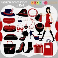 FashionAccessories in Red Clipart Set by riefka on Etsy, $6.00