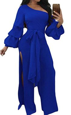 d190677145 Cruiize Women s One Shoulder Flare Sleeve High Slit Belted Wide Leg Jumpsuit  Blue M Split Pants