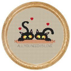 Cross Stitch Pattern PDF cats with sausage di HappyStitches4You