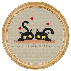 Cross Stitch Pattern PDF cats with sausage di HappyStitches4You