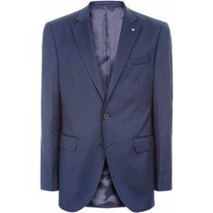 Jaeger Regular Plain Twill Jacket (19.250 RUB) ❤ liked on Polyvore featuring men's fashion, men's clothing, men's outerwear, men's jackets, mens twill jacket, mens single breasted jacket, mens slim jacket and mens slim fit jackets