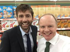 """davidtennantcom: """"That time when Alec Hardy went shopping in Valco… In a break from shooting Broadchurch David Tennant pays a visit to Jason Watkins on the set of Trollied while both shows were filming in studios in Bristol. Source """""""