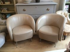 Pair of Calfskin Chairs by Guilio Mareli 1972-3  Luxurious soft leather  @ Susan Osbourne  £1,200.  SOLD