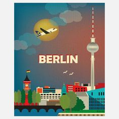 Berlin, Germany Skyline - 8 x 10 Vertical Wall Art Poster Print for Home, Office, and Nursery - style City Poster, Poster Art, Retro Poster, Kunst Poster, Poster Prints, Art Prints, Berlin City, Berlin Wall, Vintage Travel Posters