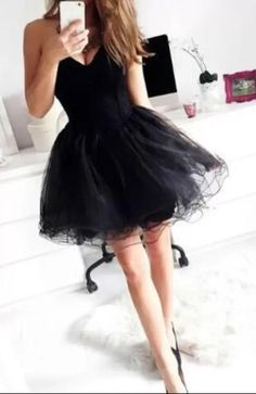 Black homecoming dress with puffy skirt