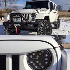 This Jeep JK lighting up the road with Putco Luminix LED Headlight and paired with our UnderCover NightHawk Light Brow